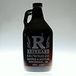 Personalized Engraved Homebrew Growler with Large Initial and Wheat Design