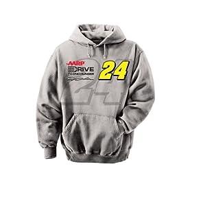 NASCAR Jeff Gordon #24 DTEH Straight Away Hooded Sweatshirt - Grey by Checkered Flag