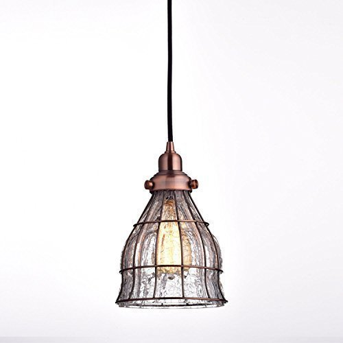 yobo lighting vintage cracked glass wire cage hanging