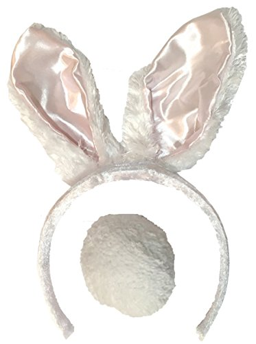 Plush Bunny Ears Headband with Fluffy TailLOTS OF COLORS (Light Pink) (Bunny Tail And Ears)