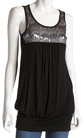 Jordache Juniors Sequin Tunic Tank Top, Black, Small
