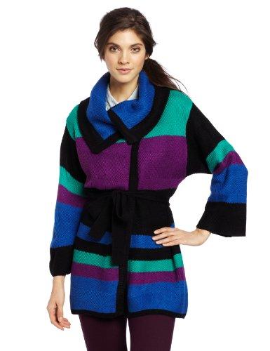 Rafaella Women's Colorblock Wrap Cardigan, Black Multi, Small