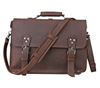 Amango Vintage Genuine Leather Briefcase Messenger Bag for Men Fit 15'' Laptop Brown A1059