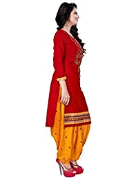 Little Lady Women's Cotton Silk Salwar Suit (LADYDM01_Red_Free Size)