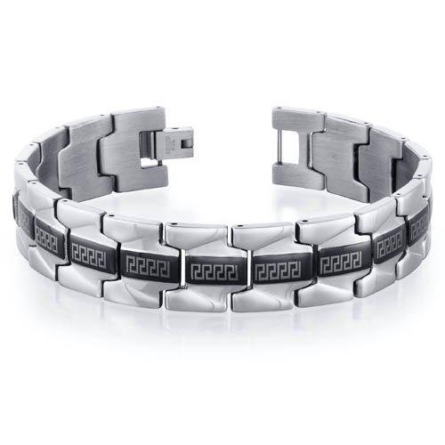 Mens Stainless Steel Greek Key Watch Style Link Bracelet Free Shipping
