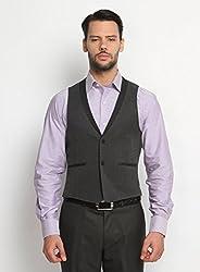 Suitltd Men's Slim Fit Grey Solid Waistcoat