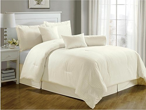 Chezmoi Collection 7-Pieces Hotel Dobby Stripe Duvet Cover Set, King, Ivory