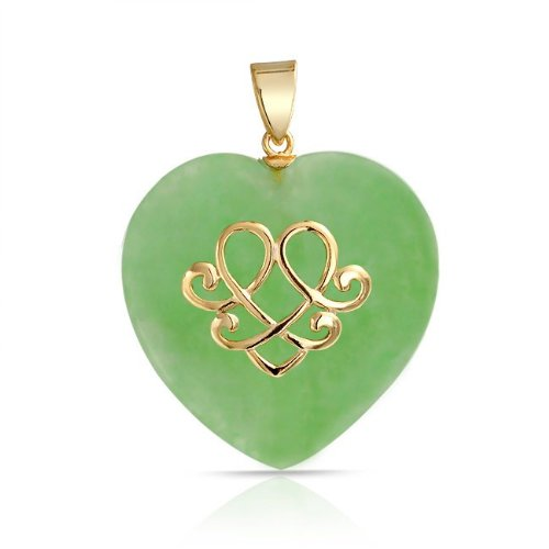 Bling Jewelry Gold Vermeil Celtic Love Knot Jade Heart Pendant 925 Sterling