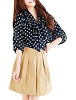 Allegra K Women Tie-bow Blouse Dot Elbow Sleeve Tops Casual Button Down Shirts