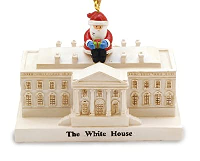 Santa Visiting President at White House Washington DC Christmas Holiday Ornament