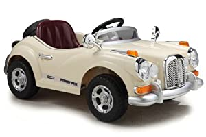 Classic Mercedes Style Kids Ride On with Rechargeable Battery (Cream)