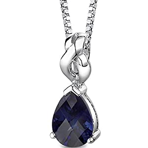 Created Blue Sapphire Pendant Necklace Sterling Silver Pear Shape Checkerboard Cut