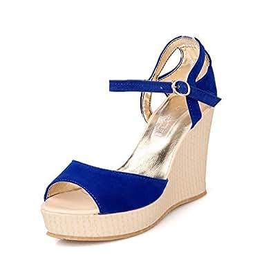 AmoonyFashion Womens Open Peep Toes High Heel Wedge Platform Imitated Suede PU Solid Sandals, Blue, 7.5 B(M) US