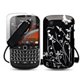 BLACKBERRY BOLD 9900 BLACK FLOWER AND BUTTERFLY BACK COVER CASE / SHELL / SHIELD + SCREEN PROTECTOR + CAR CHARGER PART OF THE QUBITS ACCESSORIES RANGEby Qubits