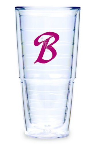 Tervis Tumbler Fuchsia Laser Twill Initial - B 24-Ounce Double Wall Insulated Tumbler Set Of 2 front-793927