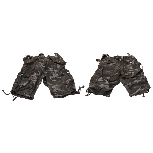 Brave Soul Mens Camouflage Design Cargo Shorts with Shoulder Belt (Small (Waist: 30 inch)) (Grey Camouflage)