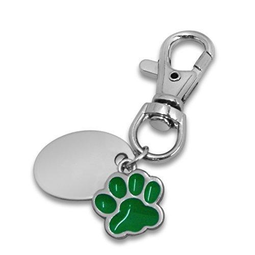 Personalizzabile/personalizzata verde con fantasia a zampette stampa portachiavi con confezione regalo - PL109