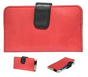 Jo Jo A8 Nillofer Leather Carry Case Cover Pouch Wallet Case For Celkon Millennium Ultra Q500 Red Black