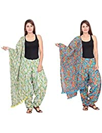 Rama Set Of 2 Floral Print Orange & Green Colour Cotton Full Patiala With Dupatta Set
