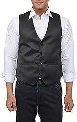 Md Mens Satin Waistcoats (Plain_L _Black _Large)