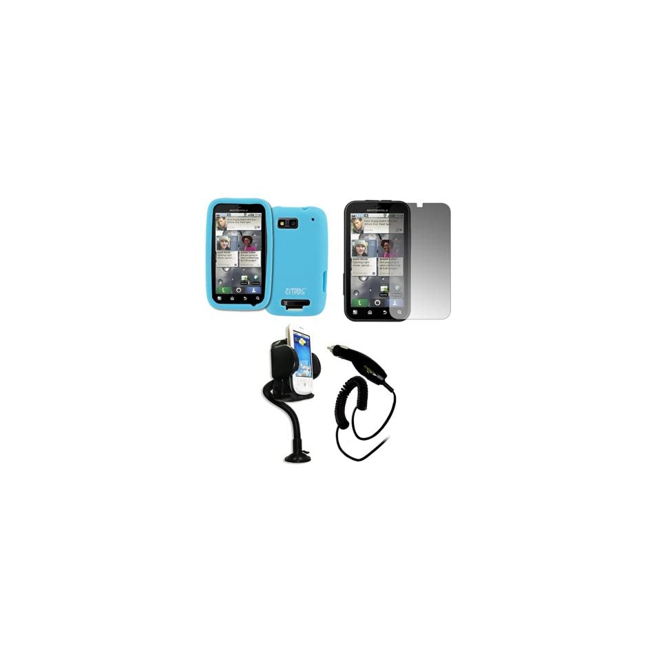 EMPIRE Light Blue Silicone Skin Cover Case + Purple 3.5mm Stereo Headphones for T Mobile Motorola Defy MB525