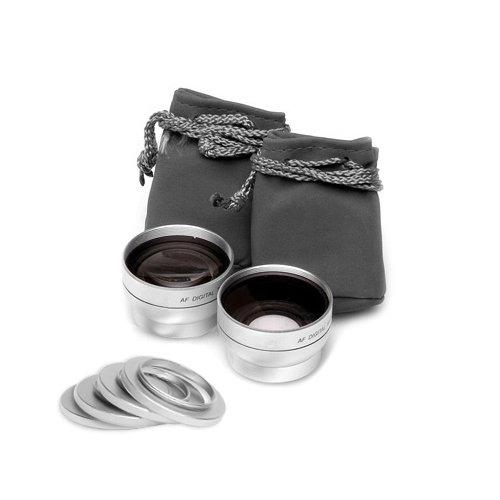 Zeikos Ze-37K 2.5X Telephoto And 0.45X Super Wide Angle High Definition Lens Set, Includes Lens Pouch, Cap Covers And Adapter Rings Fits 25/27/28/30/30.5/34/37Mm (Life Time Warranty)