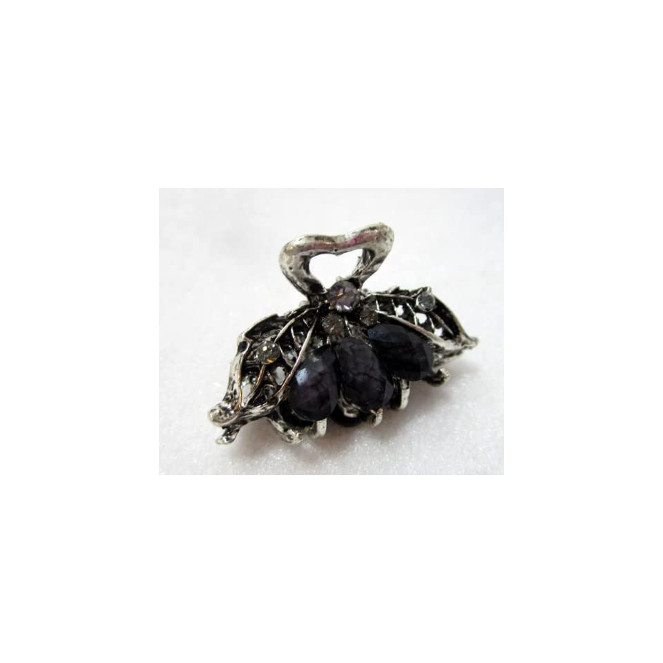 Small One Inch Silver Metal Clip Claw   Black
