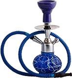 JaipurCrafts Decorative Stylo 12 inch Glass, Iron Hookah (Blue, Silver)