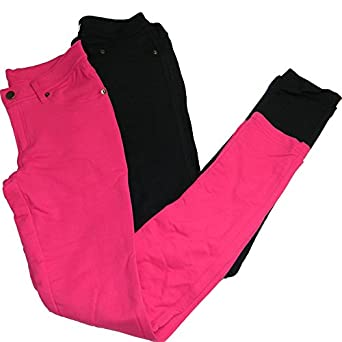 ToBeInStyle Women's Elastic Skinny Pull On Jeggings w/ Zipper & Button,Small,2 Pack: Black/Magenta*