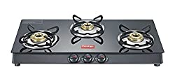 Prestige Marvel Plus Aluminum 3 Burner Gas Stove, Black