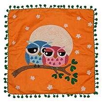 Embroidered Owl Pillow - Orange
