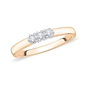 3 Diamond Wedding Band in 14K Pink Gold (1/10 cttw) (Size-4)