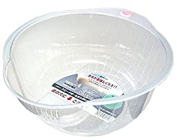Inomata Japanese Rice Washing Bowl with Side and Bottom Drainers, White by Inomata