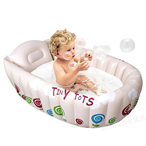 Inflatable baby bath newborn baby bathtub environmental thicker insulation folding bath tub bath-White