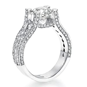 Diamond Engagement Ring 3 ct, J Color, SI1 Clarity, Certified, Round Cut, in 18K Gold / White