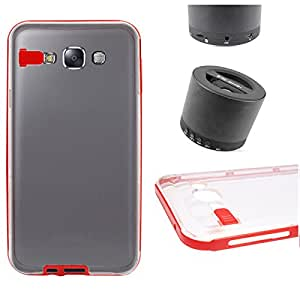 DMG LED Flashing Call Notification TPU Back Cover Case for Samsung Galaxy E7 (Red) + Wireless Bluetooth Speaker with Mic and microSD Support