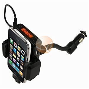 Black Apple Ipod 5-in-1 Car Charger + Fm Transmitter / Holder Full Range Frequency Fm Transmitter Car Kit for Ipod 3rd, 4th, 5th Generation, Mini, Photo, U2, Nano, Video, Classic, Touch 1st Gen, iPhone 1st Gen