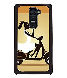 Fuson Scooter Girl Back Case Cover for LG G2 - D4125