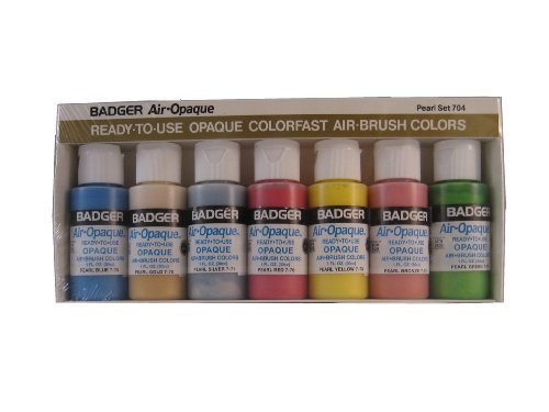 Badger Air-Brush Company Air-Opaque Airbrush Ready Water Based Acrylic Paint, Pearl, 1-Ounce Each, Set of 6