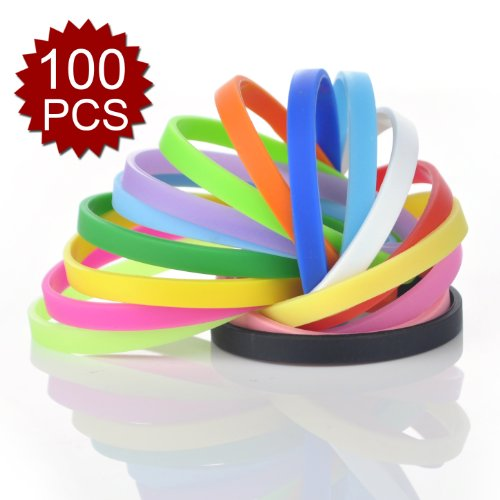 GOGO 100 Pcs Thin Silicone Wristbands, Rubber Bracelets, Party Favors - Assorted (Custom Rubber Wristbands compare prices)