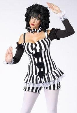 Adult Mime Sexy Clown Costume