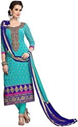 Merito Women's Sky Blue Embroidery Dress Materials