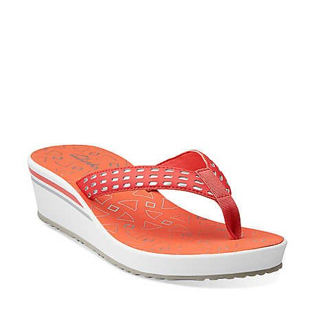 Clarks Women's Liya Bevin Flip Flop,Red,9 M US