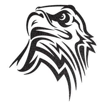 Eagle Head... Black-Metallic (10 X 9.1 inch) W7X92