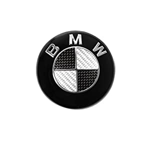 bmw steering wheel emblem carbon 44mm black and silver automotive. Black Bedroom Furniture Sets. Home Design Ideas