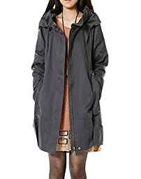Minibee Women\'s Long Sleeve Trench Hoodie Coat with Pockets Gray L