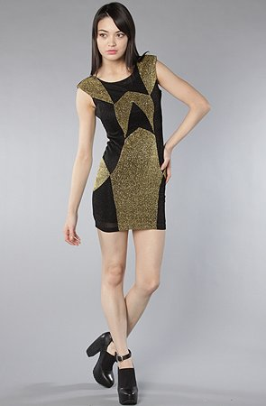 Motel The Bambi Dress in Black and Gold Glitter,Dresses for Women