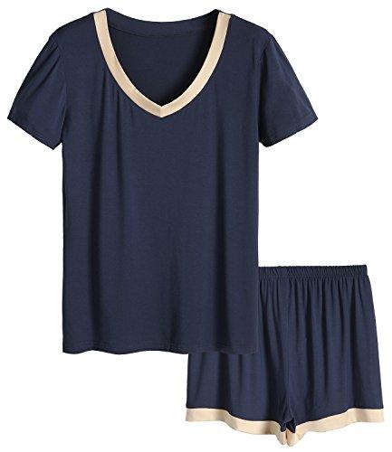 Latuza Women's Bamboo V-neck Sleepwear Short Sleeve Pajama Set