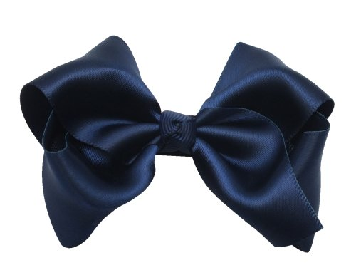 Victoria Cat Girls/ Babies Party Ponytail/ Braid Hair Dress Bow Pin/ Clip/ Barrette Accessory - Navy Blue