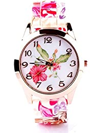 Joker & Witch Pink Printed Floral Silicone Analog White Dial Watch For Women Girls And Ladies
